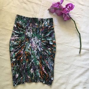 Catherine Malandrino silk watercolor pencil skirt